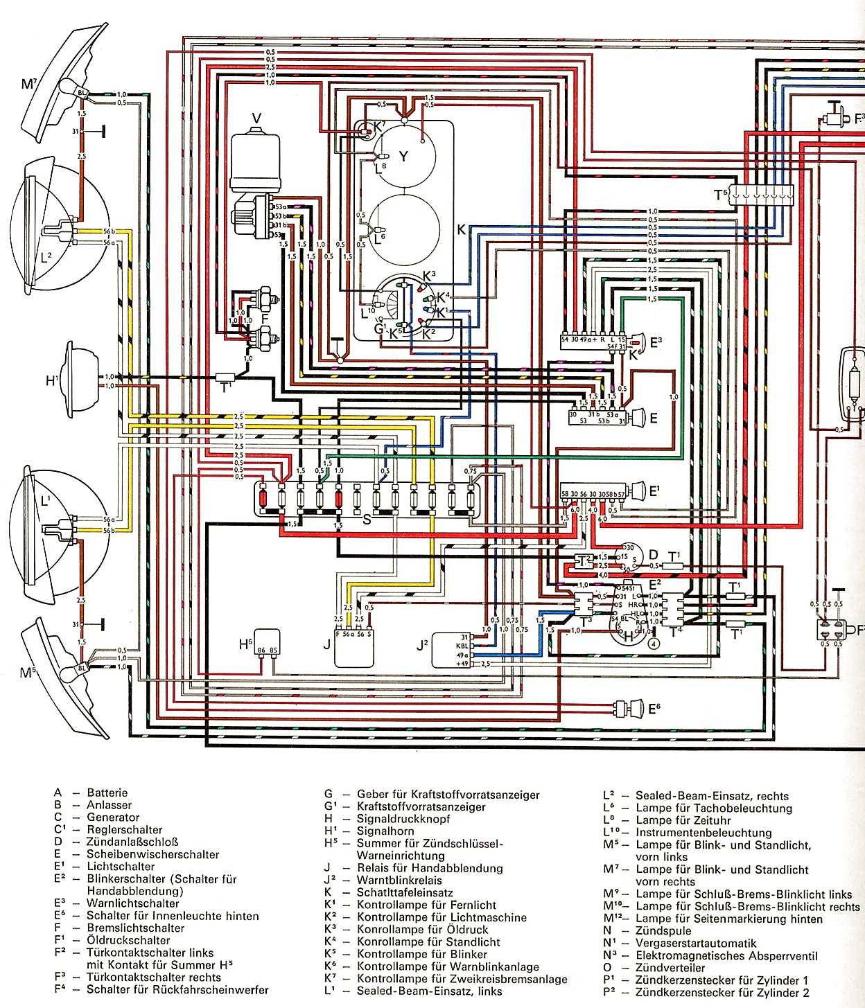 vw wiring diagrams 1 2 3 1971 1972