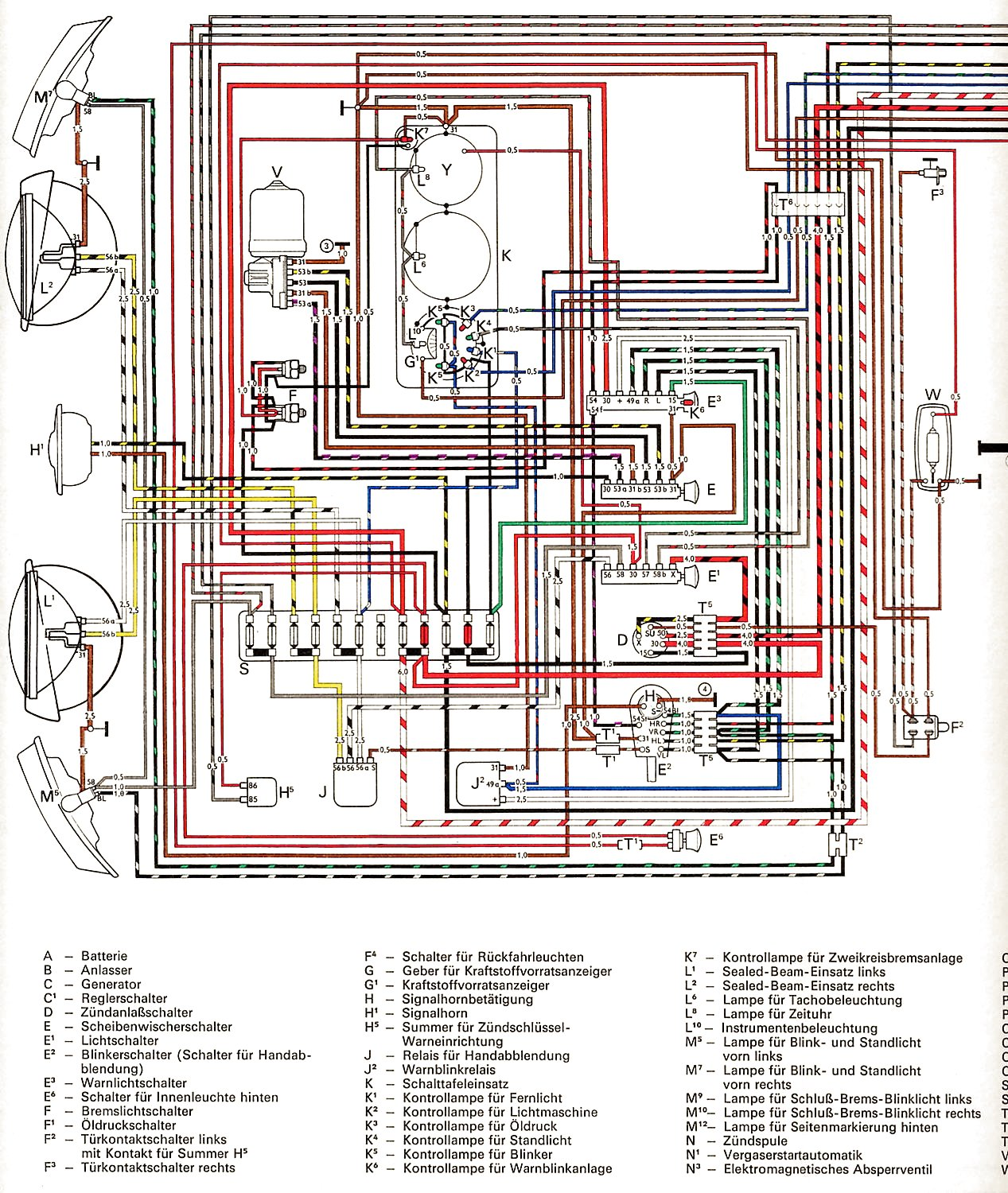 Wiring Diagram For 1975 Vw Beetle : Vw wiring diagrams