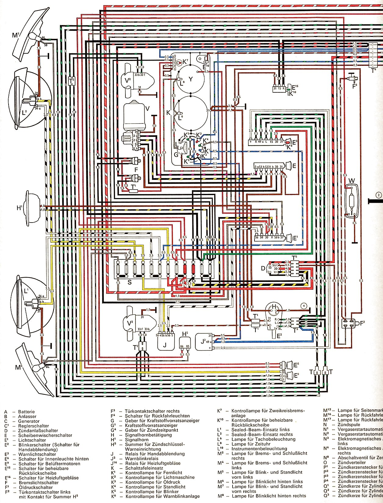 Vw Wiring Diagrams 69 71 Volkswagen Beetle Diagram 1 2