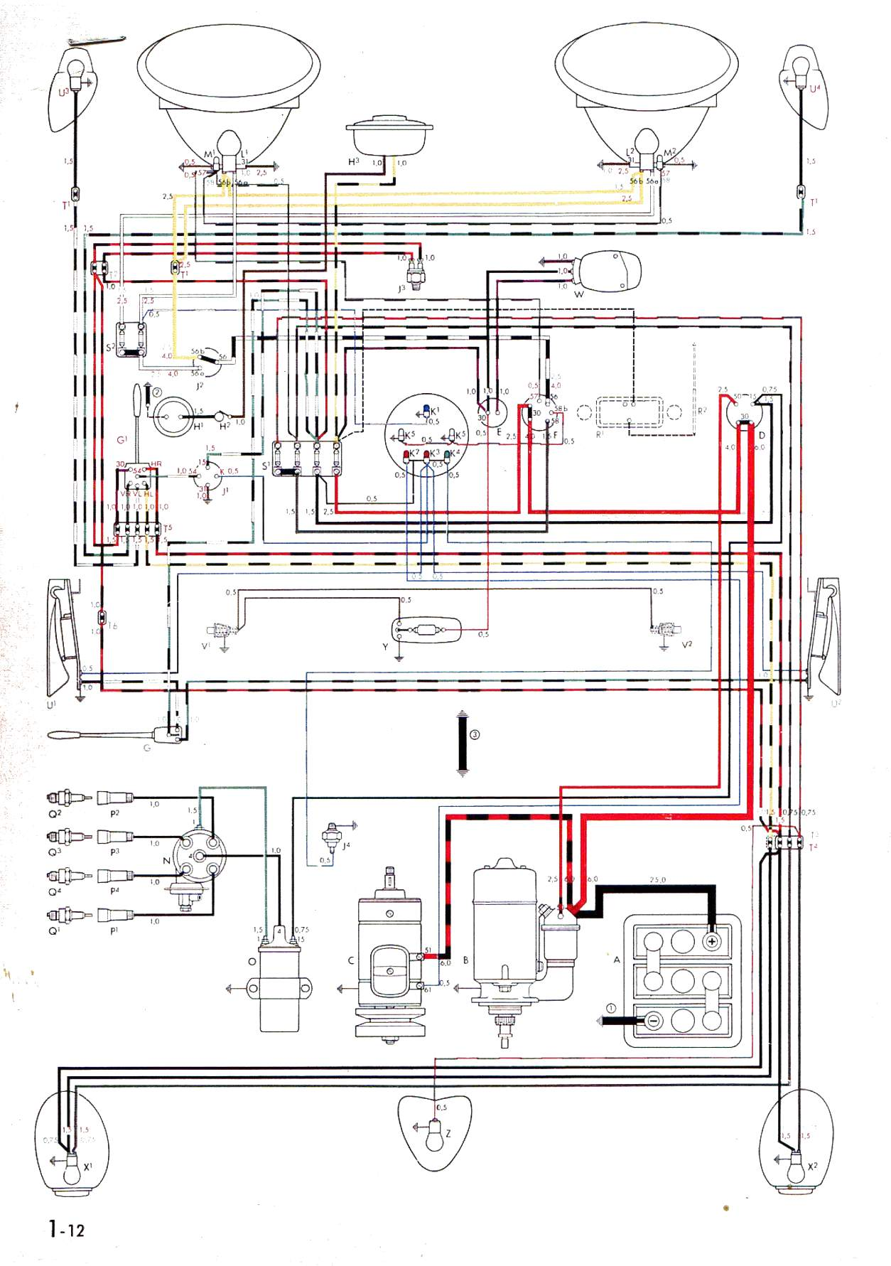 bug 55 57 vw wiring diagrams 1957 vw bug wiring diagram at soozxer.org