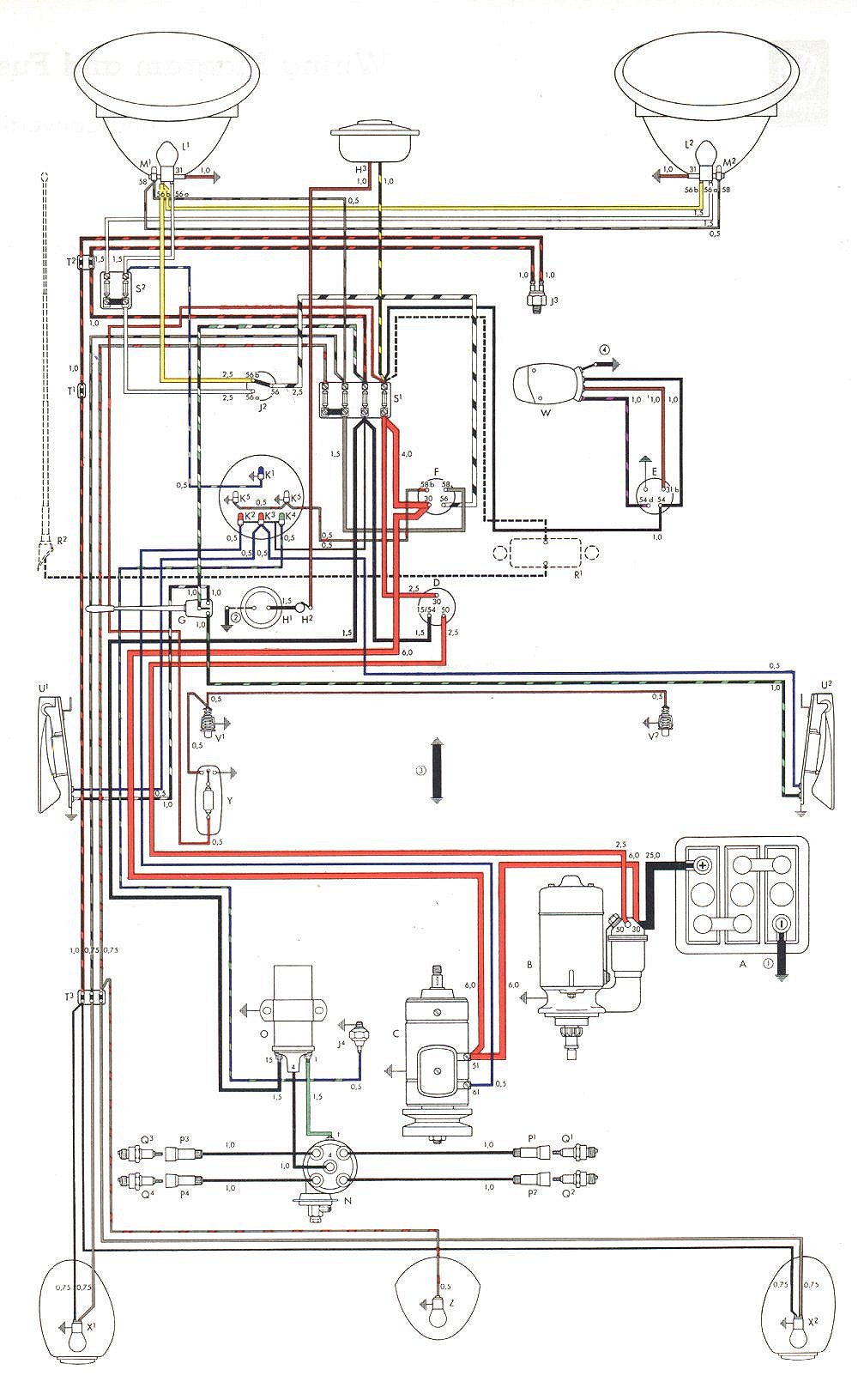 bug 58+59 euro vw wiring diagrams Turn Signal Flasher Wiring-Diagram at gsmx.co