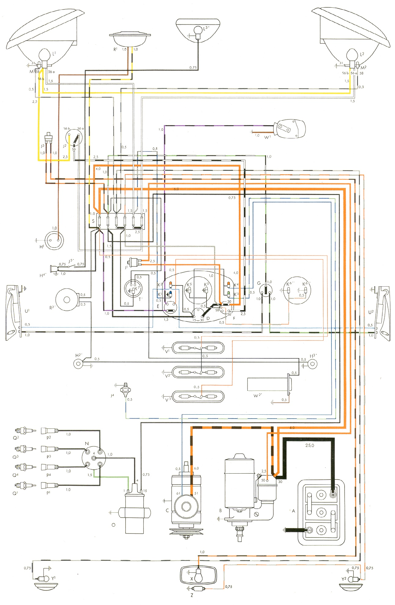 bus 54 1964 vw bug wiring diagram 67 vw wiring diagram \u2022 free wiring Volkswagen Type 2 Wiring Harness at mifinder.co