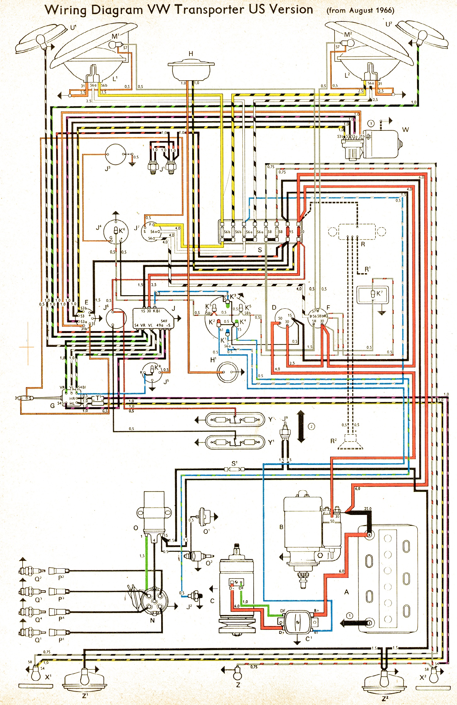 vw wiring diagrams 1967 usa 1968 1969